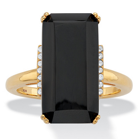 Emerald-Cut Genuine Black Onyx and White Topaz Cocktail Ring .14 TCW 18k Gold over Silver at PalmBeach Jewelry