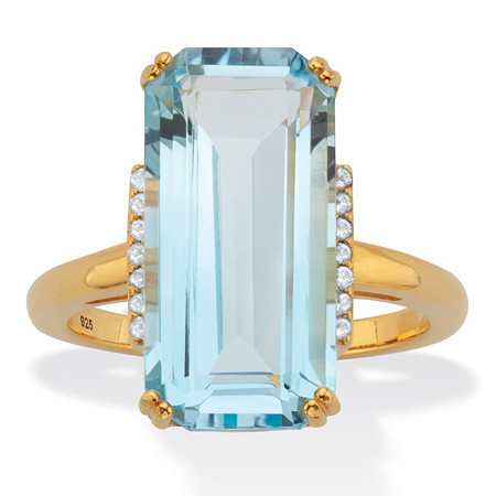 Emerald-Cut Blue and White Topaz Cocktail Ring 14.8 TCW 18k Gold-Plated Sterling Silver at PalmBeach Jewelry