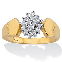 Marquise Style Round Diamond Engagement Ring 1/5 TCW 18K Gold Plated Sterling Silver
