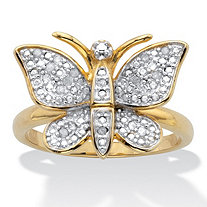 Round Diamond Butterfly Ring .10 TCW 18k Gold-Plated