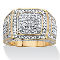 Men's Round Cut Diamond Grid Ring .10 TCW  Two-Tone Gold-Plated Sterling Silver