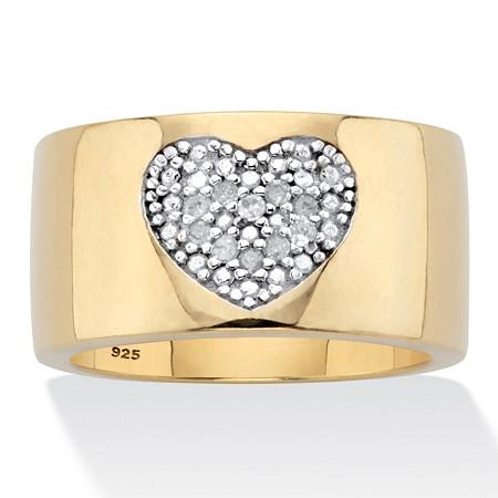 Round Genuine Diamond Heart Ring 1/5 TCW 18K Gold Plated at PalmBeach Jewelry