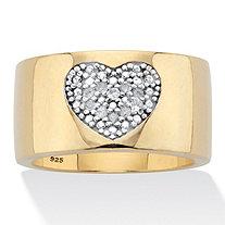 Round Genuine Diamond Heart Ring 1/5 TCW 18K Gold Plated
