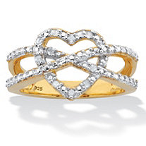 Round Cut Diamond Heart Crossover Two Tone Ring .10 TCW 18k Gold Over Silver
