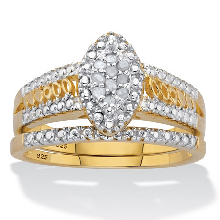 Round Diamond Marquise style 2 Piece Halo Bridal Ring Set .10 TCW  Two-Tone 18k Gold-Plated Sterling Silver at PalmBeach Jewelry