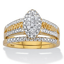Round Diamond Marquise style 2 Piece Two-Tone Halo Bridal Ring Set .10 TCW 18k Gold over Silver