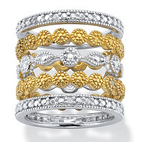 Genuine Round Diamond Stackable Eternity Ring Set 1/6 TCW Silver-Plated & Gold-Plated