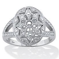 Genuine Round Diamond Starburst Ring 1/6 TCW Platinum Plated Sterling Silver