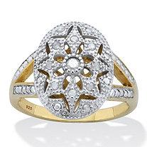 Genuine Round Diamond Starburst Ring 1/6 TCW 18K Gold Plated Sterling Silver