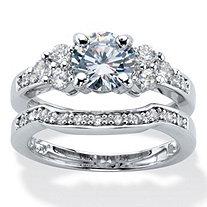 Round Cubic Zirconia 2 Piece Bridal Ring Set 2.01 TCW Platinum Plated