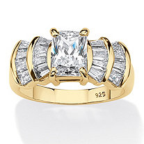 Emerald-Cut Cubic Zirconia Engagement Ring 3.10 TCW 18K Gold Plated .925 Sterling Silver