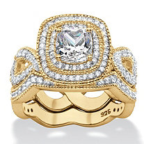Cushion-Cut Cubic Zirconia 2 Piece Double Halo Scalloped Crossover Bridal Ring Set 1.92 TCW 14k Gold Plated Sterling Silver