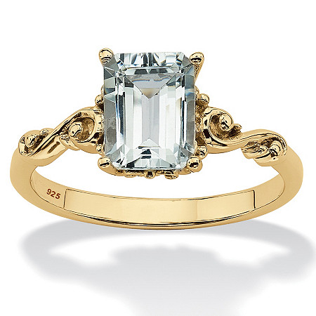 Emerald Cut Genuine Aquamarine Scrolling Shank Ring 1.40 TCW 18k Gold Plated Sterling Silver at PalmBeach Jewelry