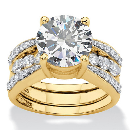Round Cubic Zirconia 2 Piece Multi-Row Jacket Bridal Ring Set 4.80 TCW 14k Gold Plated Sterling Silver at PalmBeach Jewelry