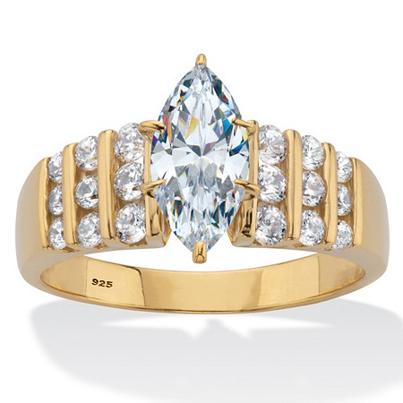 Marquise Cut Cubic Zirconia Engagement Ring 2.85 TCW 14K Gold Plated Sterling Silver at PalmBeach Jewelry