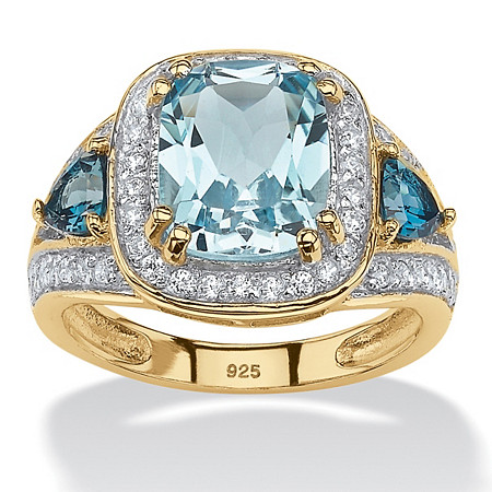Cushion Cut Genuine Blue Topaz & White CZ Halo Ring 4.64 TCW 18K Gold Plated Sterling Silver at PalmBeach Jewelry