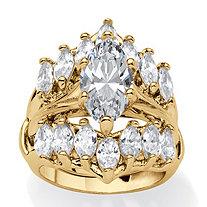 Marquise-Cut Cubic Zirconia Jacket Bridal Set 5.98 TCW in Goldtone