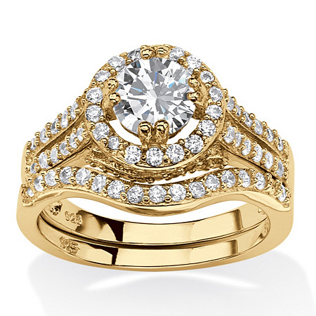 Round Cubic Zirconia 2 Piece Halo Bridal Set in 1.67 TCW  14k Gold Plated .925 Sterling Silver at PalmBeach Jewelry
