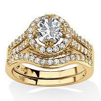 Round Cubic Zirconia 2 Piece Halo Bridal Set in 1.67 TCW 14k Gold Plated .925 Sterling Silver