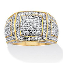 Men's Round Pave' Cubic Zirconia Grid Style Ring 3.20 TCW 18K Gold Plated