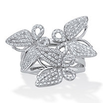 Round Pave' Style Cubic Zirconia Butterfly Ring 1 CTW Silvertone