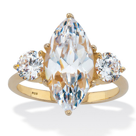Marquise Cut Cubic Zirconia Engagement Ring 4.86 TCW 18K Gold Plated Sterling Silver at PalmBeach Jewelry