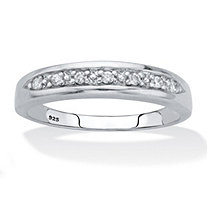 Men's Round Cut Cubic Zirconia Bridal Ring .11 TCW Platinum over Sterling Silver