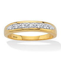 Men's Round Cut Cubic Zirconia Bridal Ring .11 TCW 18k Gold Over Sterling Silver