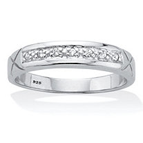 Men's Round Cut Cubic Zirconia Etched Bridal Ring .06 TCW Platinum Over Sterling Silver