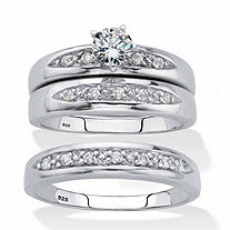 His and Her Cubic Zirconia Trio Wedding Set .75 TCW Platinum Plated Sterling Silver