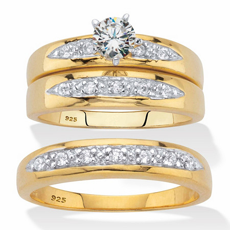 His and Hers Cubic Zirconia Trio Wedding Set .75 TCW in 18k Gold Over Sterling Silver at PalmBeach Jewelry