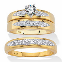 His and Her Cubic Zirconia Trio Wedding Set .75 TCW in 18k Gold Over Sterling Silver