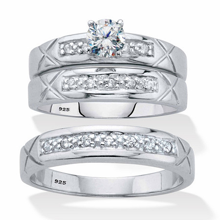 His and Her Cubic Zirconia Trio Wedding Set .63 TCW in Platinum over Sterling Silver at PalmBeach Jewelry