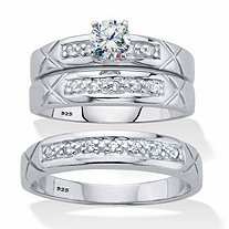 His and Her Cubic Zirconia Trio Wedding Set .63 TCW in Platinum over Sterling Silver