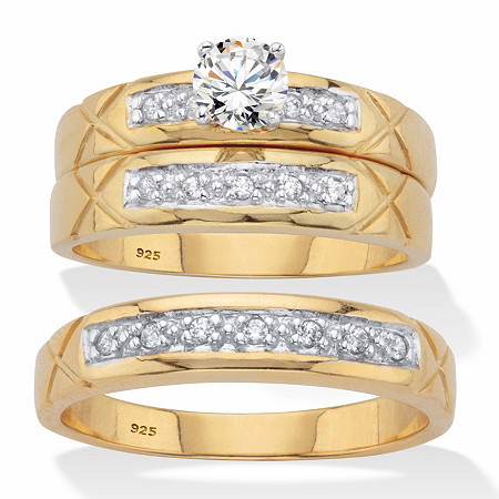 His and Hers Cubic Zirconia Trio Wedding Set .63 TCW in 18k Gold Over Sterling Silver at PalmBeach Jewelry