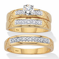 His and Hers Cubic Zirconia Trio Wedding Set .63 TCW in 18k Gold Over Sterling Silver