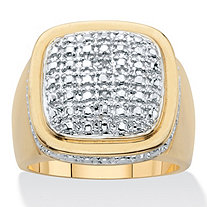 Men's Round Diamond Accent Grid Ring 14K Gold Plated