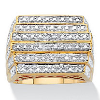 Men's Round Multi Row Step Top Diamond Accent Ring 14k Gold Plated