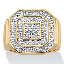Men's Round Diamond Accent Octagon Ring Gold-Plated