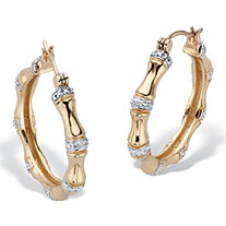 Round Genuine Diamond Bamboo Hoop Earrings 1/10 TCW 14K Gold Plated