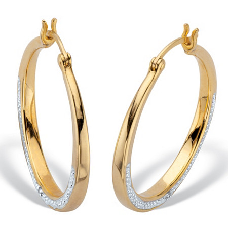 2 Sided Round Genuine Diamond Hoop Earrings 1/10 TCW 14K Gold Plated at PalmBeach Jewelry
