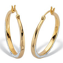 2 Sided Round Genuine Diamond Hoop Earrings 1/10 TCW 14K Gold Plated