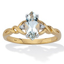 Marquise Cut Genuine Aquamarine With Diamond Accents Braided Ring .82 TCW 18K Gold Plated Sterling Silver