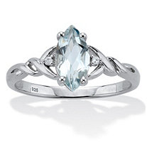 Marquise Cut Genuine Aquamarine With Diamond Accents Braided Ring .82 TCW Sterling Silver