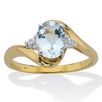 Oval Cut Genuine Aquamarine & Diamond Accent Bypass Ring 1 TCW 18K Gold Plated Sterling Silver