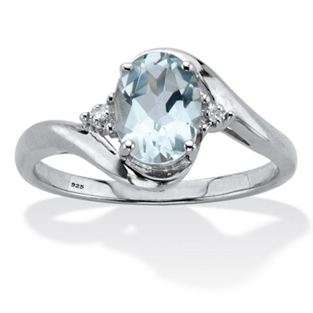 Oval Cut Genuine Aquamarine & Diamond Accent Bypass Ring 1 TCW Platinum Plated Sterling Silver at PalmBeach Jewelry