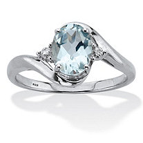 Oval Cut Genuine Aquamarine & Diamond Accent Bypass Ring 1 TCW Platinum Plated Sterling Silver