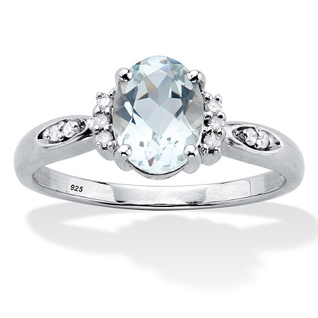 Oval Cut Genuine Aquamarine And Diamond Accent Ring 1 TCW Platinum Plated Sterling Silver at PalmBeach Jewelry