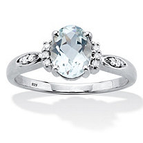 Oval Cut Genuine Aquamarine And Diamond Accent Ring 1 TCW Platinum Plated Sterling Silver