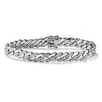 SETA JEWELRY Men's Diamond Accent Curb-Link Bracelet Platinum-Plated 9.5